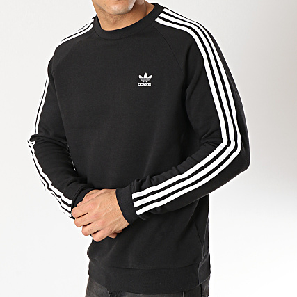 adidas Sweat Crewneck 3 Stripes DV1555 Noir Blanc