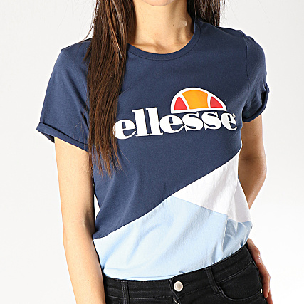 Ellesse Tee Shirt Femme Tricolore 1074n Bleu Marine Bleu