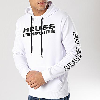 Heuss L'Enfoiré Sweat Capuche Logo Blanc