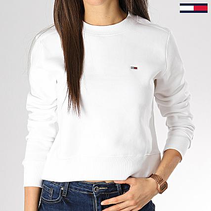 c229d8b55c Tommy Hilfiger Jeans - Sweat Crewneck Crop Femme Side Seam 6123 Blanc -  LaBoutiqueOfficielle.com