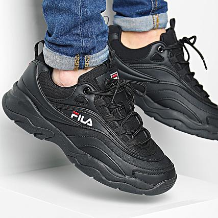 Détails sur FILA RAY LOW 1010561 12V sneakers Noir, Homme, Cuir Synthétique