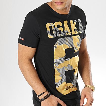 Superdry Tee Shirt Osaka Mochrom M10103CT Noir Doré