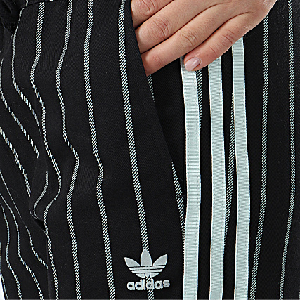 adidas Pantalon Femme Rayé Track DU9886 Noir Bleu Clair