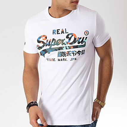 Superdry Tee Shirt Vintage Logo Layered Camo Blanc