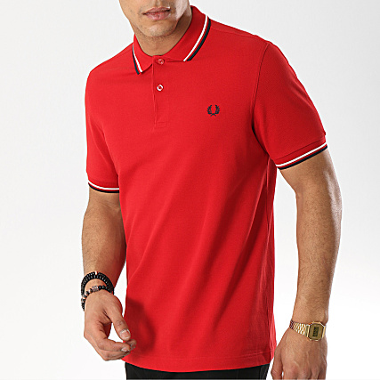 e687bd0fb Fred Perry - Polo Manches Courtes Twin Tipped M3600 Rouge Blanc Bleu ...
