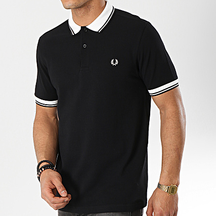 e4fbdac85 Fred Perry - Polo Manches Courtes Twin Tipped M4567 Noir Blanc ...