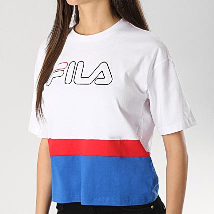 uk cheap sale united kingdom quality Fila - Tee Shirt Femme Crop Miranda 687147 Blanc Bleu Roi ...