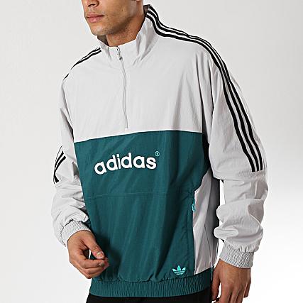 adidas Veste De Sport Col Zippé A Bandes Arc FH7914 Gris