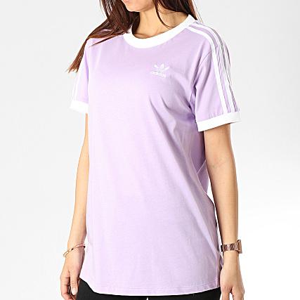 adidas Tee Shirt Femme 3 Stripes DV2589 Lilas Blanc