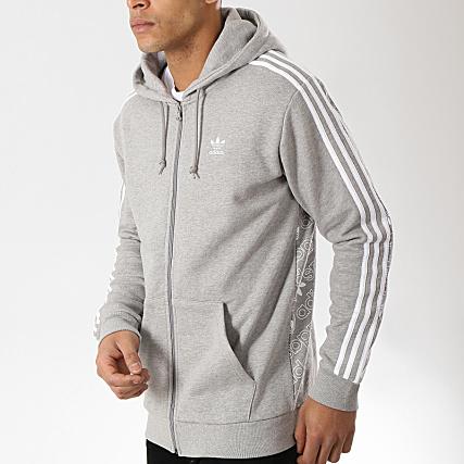 adidas Sweat Zippé Capuche Monogram Fleeze DW6447 Gris