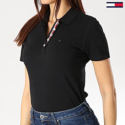 tommy jeans polo manches courtes femme original 4434 noir