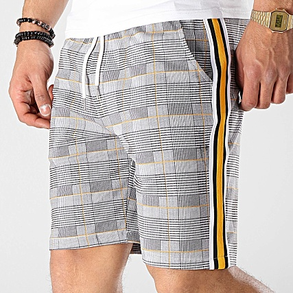 Uniplay Short A Carreaux Avec Bandes GO51 Blanc Noir