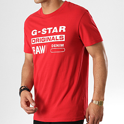 G Star Tee Shirt Graphic 8 D14143 336 Rouge