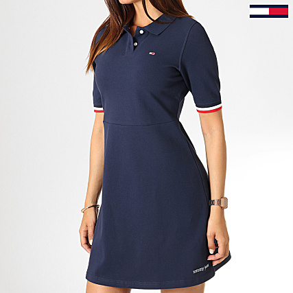 f16de3bef1a3c1 Tommy Hilfiger Jeans - Robe Polo Femme Flare 6966 Bleu Marine ...
