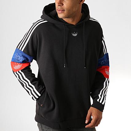 adidas - sweat capuche 96 ek2996 noir blanc