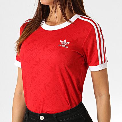 adidas Tee Shirt Femme Avec Bandes 3 Stripes ED7488 Rouge