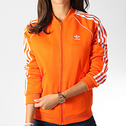 adidas - Veste Zippée Femme A Bandes SST ED7589 Orange Blanc ...