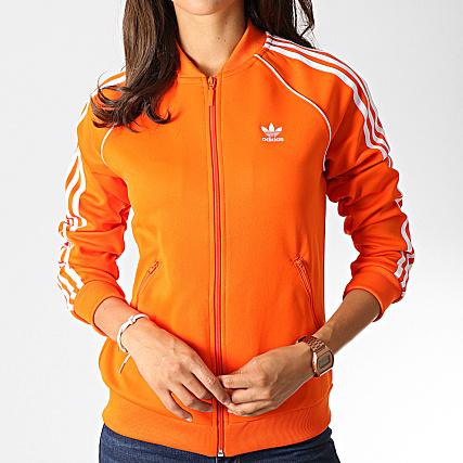adidas Veste Zippée Femme A Bandes SST ED7589 Orange Blanc