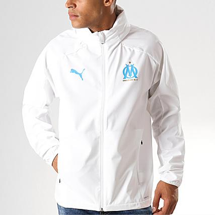 Puma Veste Zippée OM Rain 755845 Blanc Bleu Clair