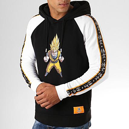 Dragon Ball Z Sweat Capuche A Bandes Goku Noir Blanc