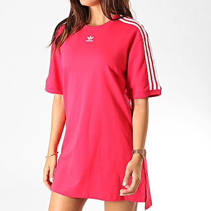 A Bandes Ed5863 Adidas Blanc Robe Shirt Rouge Femme Tee nOwkZN0X8P