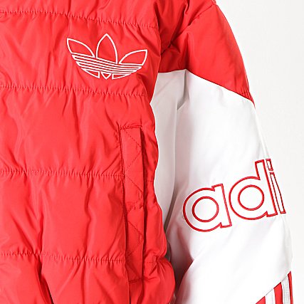 adidas Doudoune Femme Cropped Puffer ED7599 Rouge Blanc