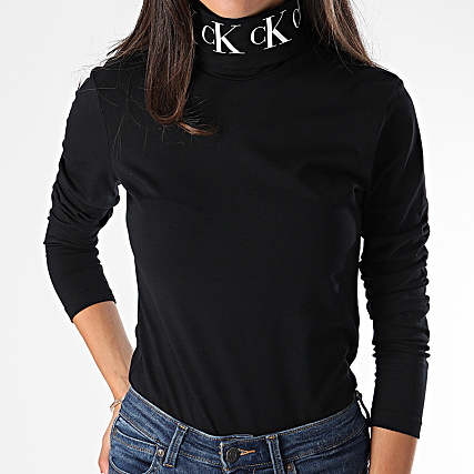 Calvin Klein Tee Shirt Manches Longues Femme Col Roulé