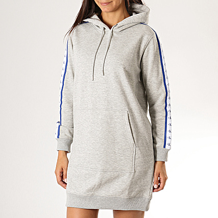 Calvin Klein Robe Sweat Capuche Femme A Bandes Monogram