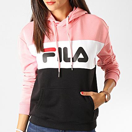 plus grand choix Meilleure vente 60% pas cher Fila - Sweat Capuche Femme Lori 687042 Rose Noir Blanc ...
