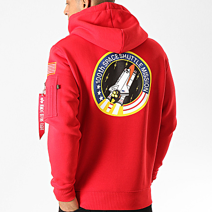 Alpha Industries Sweat Capuche Space Shuttle Rouge