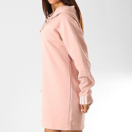 nouveau sommet pas cher meilleur endroit pour adidas - Robe Sweat Capuche Femme ED7448 Rose Poudré Blanc ...