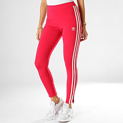 adidas Legging Femme A Bandes ED4757 Rose Fushia Blanc