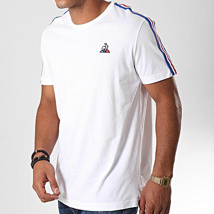 Le Coq Sportif Tee Shirt A Bandes Tricolore Saison N4