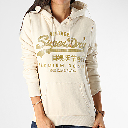 Sweat à capuche Superdry femme Logo Premium bordeaux
