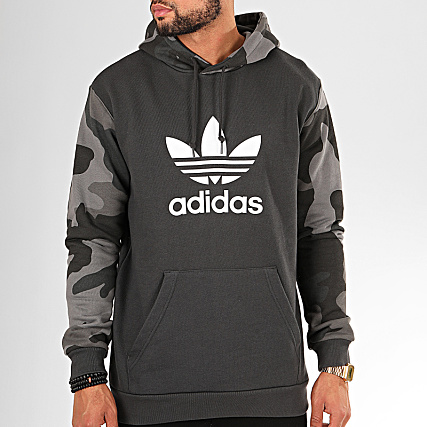 adidas Sweat Capuche Camouflage ED6977 Gris Anthracite