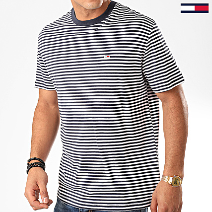 Tee shirt col rond à manches courtes marineblanc Tommy