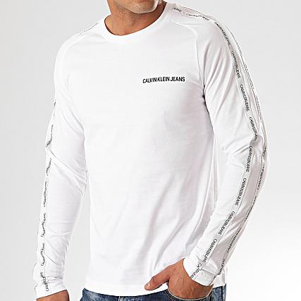 Calvin Klein Tee Shirt Manches Longues A Bandes