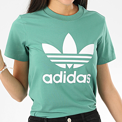 adidas Tee Shirt Femme Trefoil FM3300 Vert Blanc