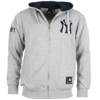 Majestic Yankees Zippé Grey York Athletic Ganello New Sweat Capuche ZzEq4qw