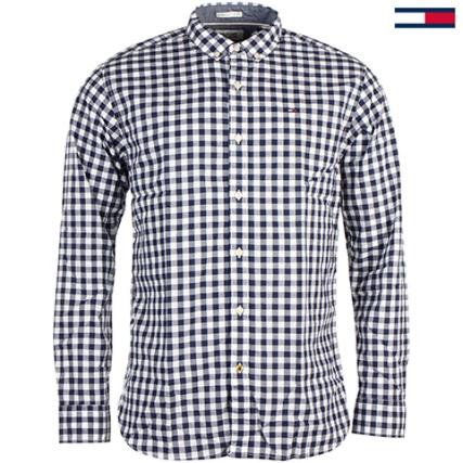 Chemise à carreaux Tommy Hilfiger Dénim bleu marine et