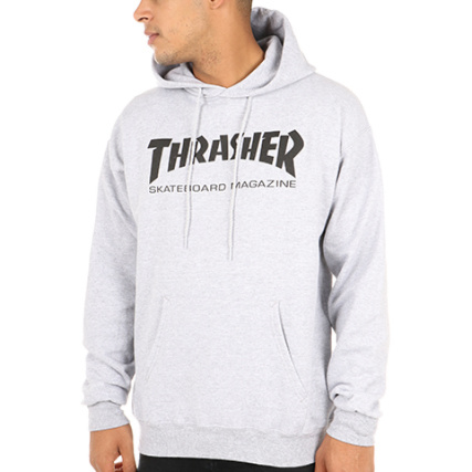 Gris Thrasher Mag Skate Sweat Chiné Capuche xqwzUO44B