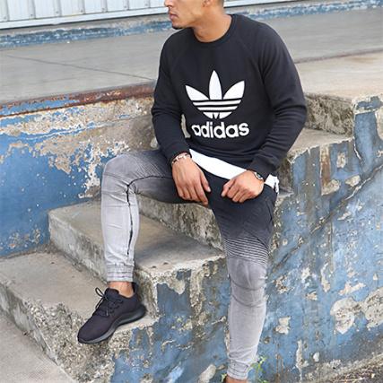 Adidas Noir Ay7791 Crewneck Trefoil Sweat fwFXqa
