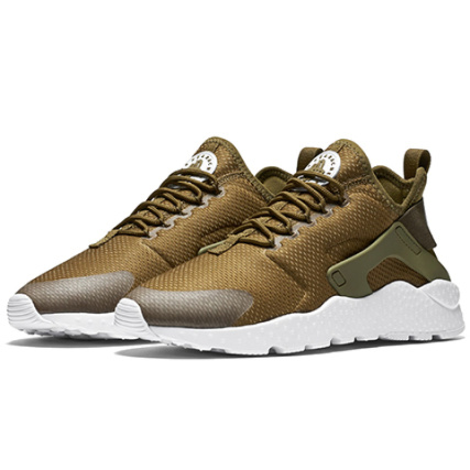 Nike - Baskets Femme Air Huarache Run Ultra 819151 302 Olive Flak White Vert Kaki - LaBoutiqueOfficielle.com