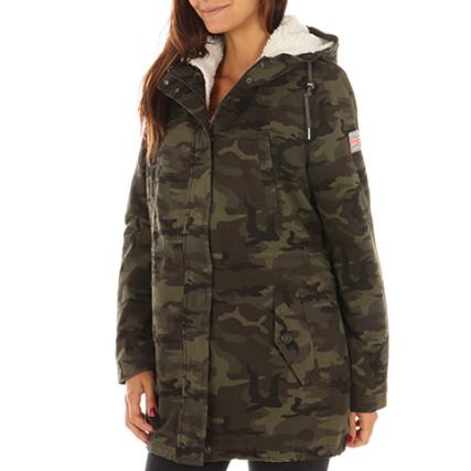 Camouflage Rookie Fourrure Superdry Kaki Sherpa Parka Femme Vert U0RZZOzqw