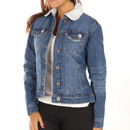 Veste jean bleu marine femme