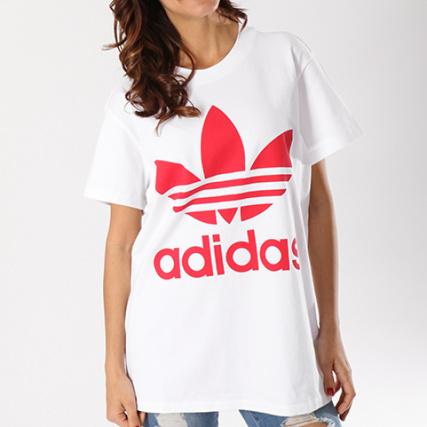 Shirt Blanc Tee Big Cy2275 Oversize Femme Adidas Rouge Trefoil C5zqO