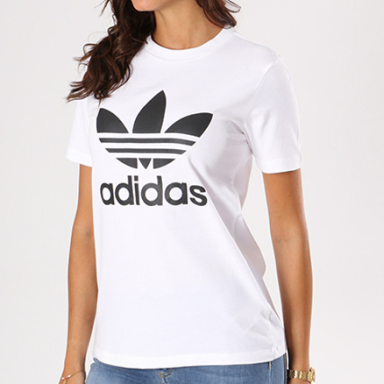 5feb48f8b43c adidas - Tee Shirt Femme Trefoil CV9889 Blanc Noir -  LaBoutiqueOfficielle.com