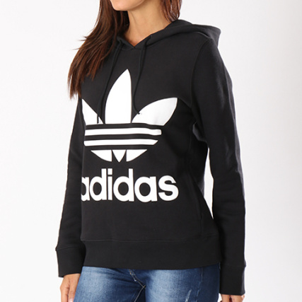 Femme Ce2408 Sweat Trefoil Adidas Blanc Noir Capuche c54j3RLqA