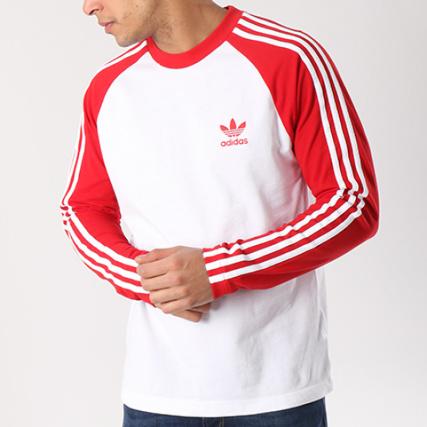 ebb03b6530914 adidas - Tee Shirt Manches Longues 3 Stripes CW1231 Blanc Rouge -  LaBoutiqueOfficielle.com