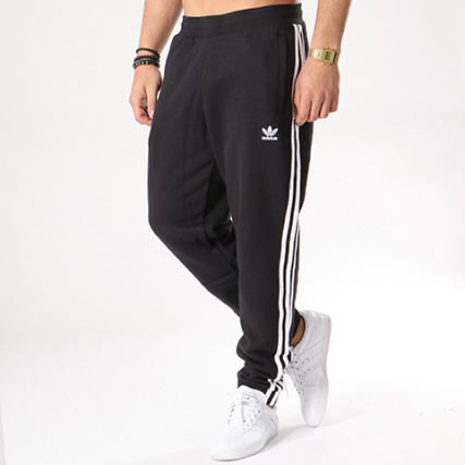 Jogging Blanc 3 Stripes Noir Brodées Adidas Pantalon Bandes Cw2981 QCWoerxdBE